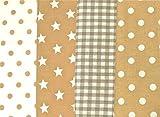 4 x 0,5m beige Muster-Mix 100% Baumwolle Stoffbreite 1,4m
