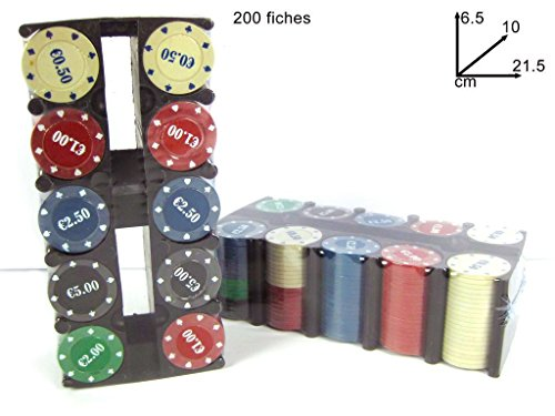 Set 200 fiches colorate in apposito contenitore chips per poker texas hold em. MEDIA WAVE store