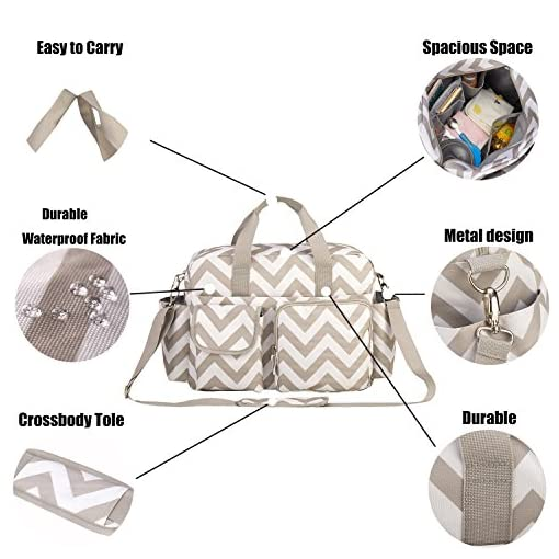 incarpo Large Capacity Nappy Waterproof Diaper Shoulder Bag Mummy Feeding for Mom Baby Travel Diaper Handbag Stripe,White