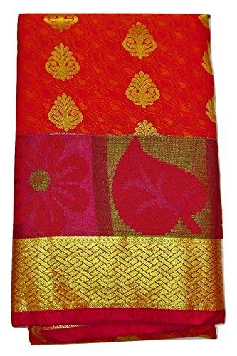 Ethnic Indian Silk Saree With Blouse Piece (KANCHIPURAM_PATTU_SILK_SAREE_PARTY_WEAR_Orange_Free Size)