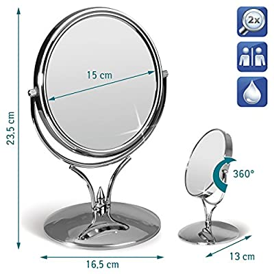 Tatkraft Aphrodite Double Sided Swivel Mirror for Makeup & Shaving D15cm Chrome 2X Magnification produced by Tatkraft - quick delivery from UK.