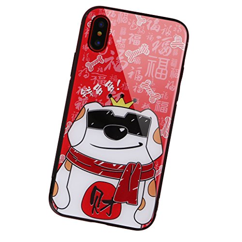 aichose iPhone X Fall, Luxus Fortune Cat für Ihr Handy Neue Jahr, Tempered Glas Back Cover mit Soft TPU Bumper Rahmen Stoßdämpfung bietet Starken Schutz, iPhone X, FortuneCat D -
