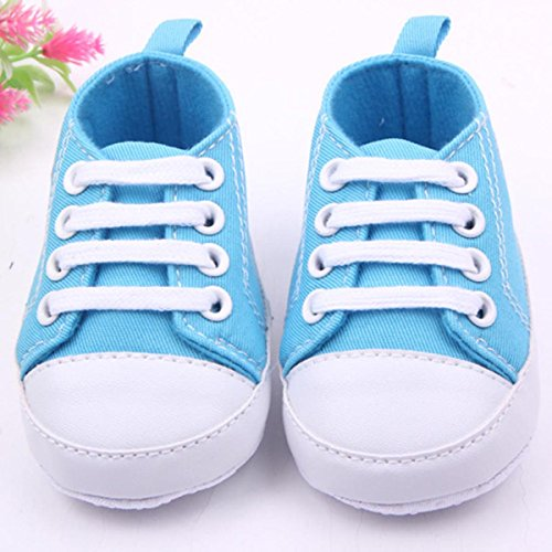 Happy Cherry Babyschuhe weiche Lauflernschuhe Baby Segeltuch Schuhe atmungsaktive Turnschuhe Wandern Sneaker mit rutschfester Sohle für Mädchen Jungen(7-12 Monate) - Lila Blau