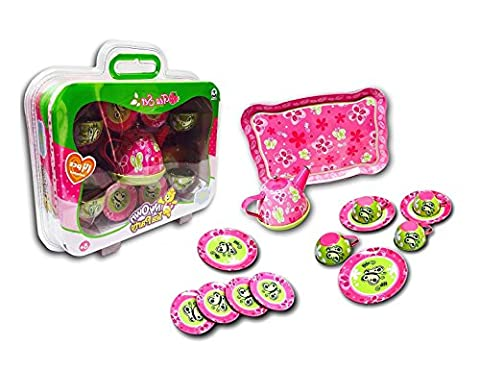 Kids Metal Tea Party Toy Play Set With Teapot Saucer Plates Cups & Serving Tray - Children Pretend Play Toys - Butterfly