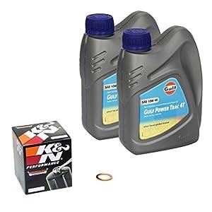 GULF Power Trac (10W Kit de 40) ölwechsel Suzuki Burgman 125(UH 125), Bj. 02–13–Huile moteur, K & N Filtre à huile et bague d'étanchéité pas cher
