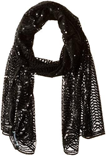 Betsey Johnson Damen Tulle Wrap With Sequin Scallop Pattern Schal, schwarz, Einheitsgröße Betsey Johnson Wrap