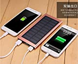 Jun Solar Ladegerät, Tech Solar Power Bank Dual USB Port Tragbares Ladegerät, solar Akku Ladegerät für iPhone, iPad, Handy, Tablet, Kamera, wasserdicht, staubdicht und stoßfest