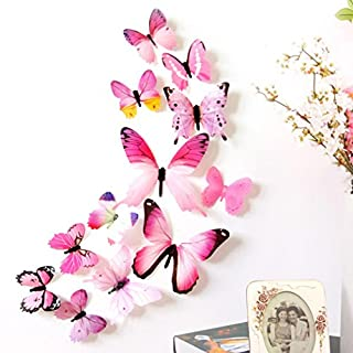 erthome 12 pcs 3D DIY Wall Sticker Stickers Butterfly Home Decor Room Decorations New (Pink)