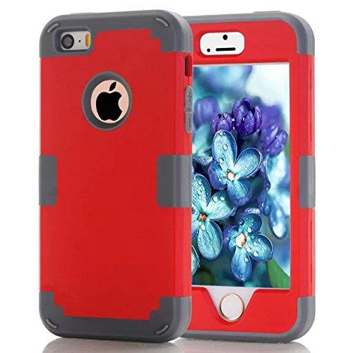 iPhone 5S Fall Süßigkeit-Farben-Series -Lantier Hybrid von weichen Silikon-Interior und Exterior harte PC Schild Schlank Leichte, stoßfest Ganzkörper-Schutzhülle für das iPhone 5, iPhone 5S Light Gold Red+Grey
