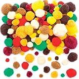 Baker Ross Pack Ahorro de Pompones otoñales para Decoraciones y Manualidades Infantiles (Pack de 200).