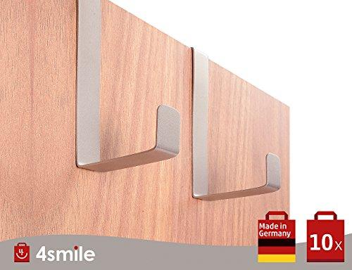 SOBRE LOS GANCHOS DE LA PUERTA Porta XXL 10 piezas por 4smile - Hecho en Alemania | XXL GANCHOS reversibles para puertas y gabinetes de armarios | Perchas y ganchos de las puertas | Acero inoxidable