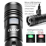 USB Rechargeable LED Torch, OviLeaf® 960 Lumen Cree XML2(U2) LED Mini Torch with Metal Clip 5 Modes Switch and Adjustable Focus Suitable for Indoor and Outdoor Used, 1x Rechargeable Li-ion 18650 Battery with PTC board included (Contained in)