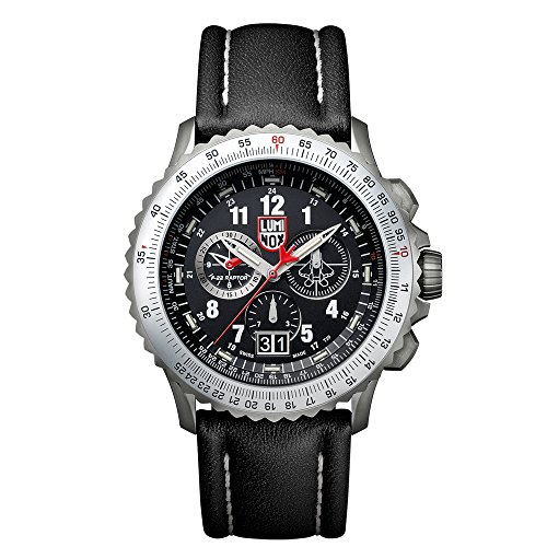 Luminox F-22 RAPTORTM Chronograph Men's Quartz watch with Black dial featuring LLT Luminox light Technology 45 millimeters Titanium case and Black Leather Strap XA.9241