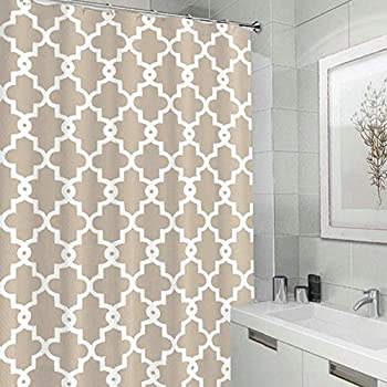 Bearbae Fabric Waterproof Shower Curtain Liner Contemporary Moroccan  Lattice Geometric (Beige)