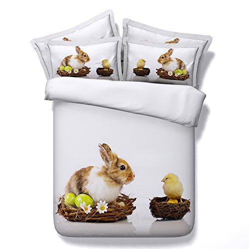 ktlrr Cute Kaninchen Familie Bettbezug Set Einzelbett, 3D Digital Print Braun und gesund aussehende Ostern Bunny Muster Kinder bedcloth Geschenk für Kinder Mädchen Jungen Country Style, Decortive 3-teiliges Betten-Set mit 2-teiligem kissenrollen (50x 70cm) keine Tröster, Jf059, Double(200x225cm,3pcs) (Bunny-eisen-bett)