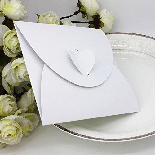 50pz Porta CD DVD Custodia Forma Cuore Regalo Cartoncino Perlato (Bianco)