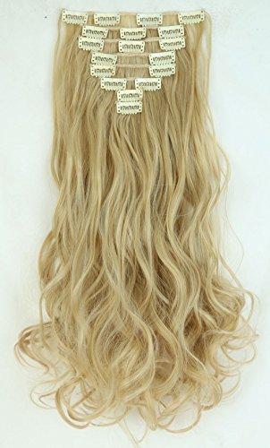 S-noilite® set 8pcs 43cm extension capelli clip nelle estensioni dei capelli della parte dei capelli ondulato o liscio pieno testa vari colori biondo cenere mix di candeggina bionda