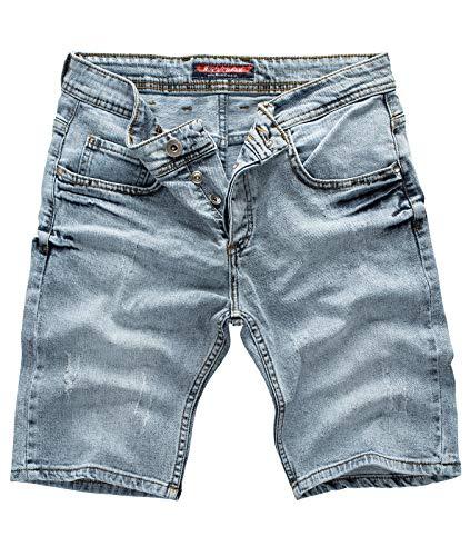 Rock Creek Herren Shorts Jeansshorts Denim Stretch Sommer Shorts Regular Slim [RC-2136 - Snow Blue - W38] - Zurück Pocket-denim-short