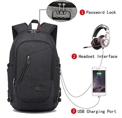 FLYMEI Global - Zaino per computer portatile con porta USB di ricarica, blocco e vano per auricolari, compatibile con notebook da 12-16', impermeabile, adatto per scuola, lavoro e viaggio, nero