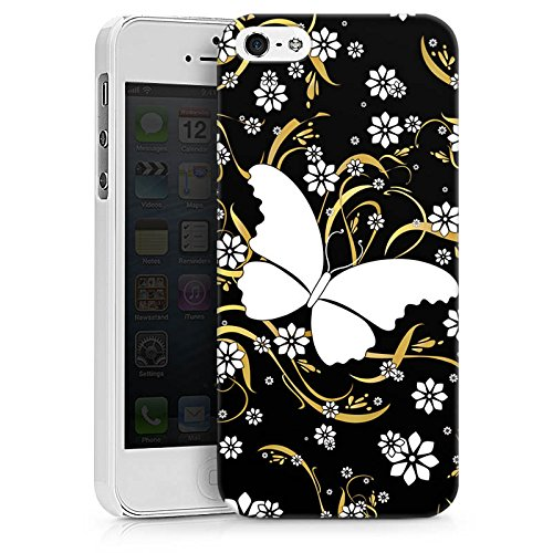 Apple iPhone X Silikon Hülle Case Schutzhülle Schmetterling Blume Muster Hard Case weiß