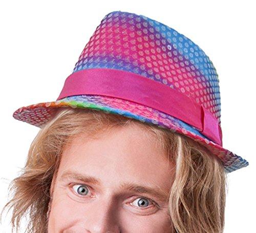 Dress up america cappello di fedora paillettes arcobaleno lucido per adulti