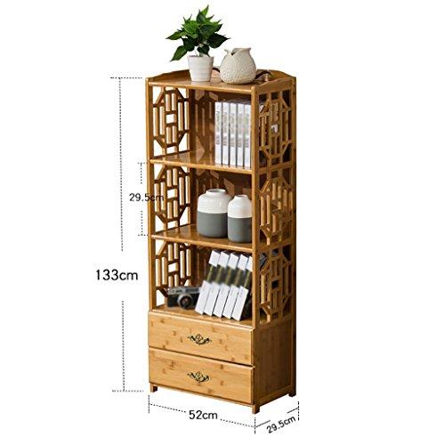 Mobile 5-regal Bücherregal (TH Europäische Bücherregal mit Schubladen Kombination Bücherregal Wohnzimmer Regal Boden Typ einfache Bücherregal Home Storage Regal ( Farbe : 4 tier , größe : 52cm ))