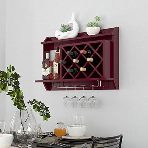 LUYIASI- Massivholz Weinregal Wandbehang Weinschränke Wohnzimmer Modern Home Rack Rotwein Lattice Diamond Shelf (Farbe : Braun)