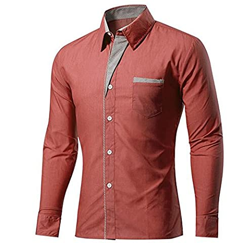 KINDOYO Men's Long Sleeve Shirts Button Front Polyester &Cotton Slim Fit Plain Color stripe S-4XL