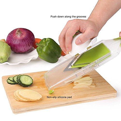 NexGadget V-Blade-Gemüsehobel,Reibe mit 4 V-Blade Klingen,Zwiebelschneider – Pommes Kartoffelschneider mit Edelstahl-Blatt,schneidet Scheiben,schneidet Stifte - 4