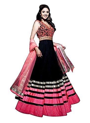 Purva Art Womens Georgette Pink & Black Semi-Stitched Dress (BPD_7782_Pink_Anarkali Dress_Georgette_Wedding Wear)