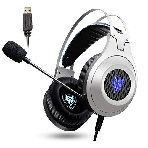 PC Gaming Headset, NUBWO N2 USB Gaming Headphones mit Rauschunterdrückungsmikrofon, Over-Ear Kopfhörer für PC /PS4/ Mac / Laptop -Silver