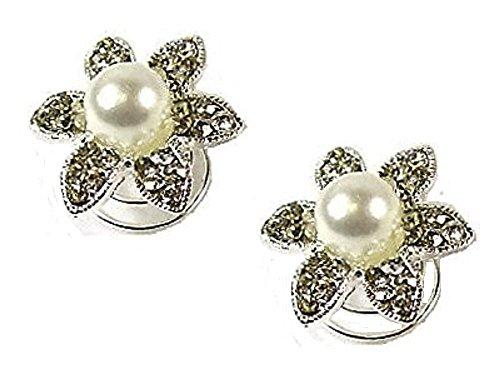 2 argent Perle Strass Cristal Fleur Mariage Motif tourbillons torsade épingles spirales demoiselle d'honneur/mariée Bijoux - 2 cm de diamètre