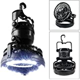 Camping Combo LED Lantern and Fan, KuGi ® Tent Camping Ceiling Fan - 2 in 1 Multi-functional 18 LED Camping Tent Lamp with Ceiling Fan.(Black)