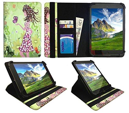 Kiano SlimTab 8 Girl with Butterfly Universal 360 Grad Wallet Schutzhülle Folio mit Kartensteckplätzen ( 7 - 8 zoll ) von Sweet Tech