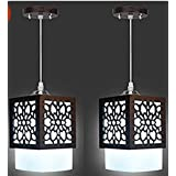 New Raipuria Light Mrodern Design Fumed Glass 5Watt LED Hanging Light (Set Of 2) White And Brown