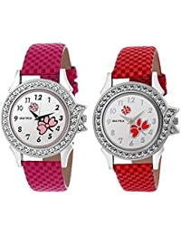 Matrix White Studded Dial, Pink & Red Leather Strap Analog Watches For Women/Girls - Combo (Pack Of 2) (BAE-6)