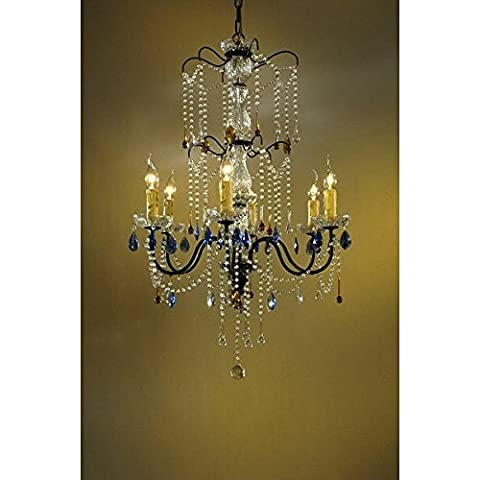 Bronze Chandelier, Clear, Amber & Blue Crystal - 6
