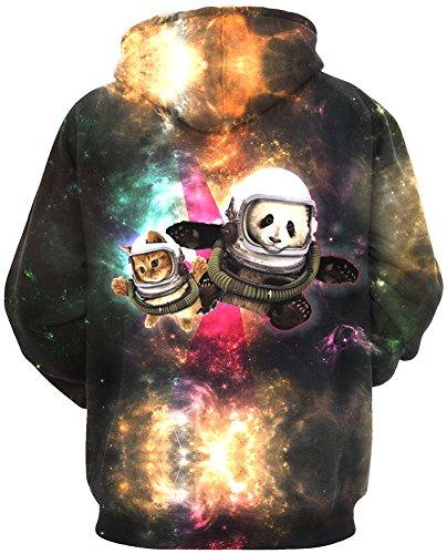 TDOLAH Herren Weihnachten plastisch Muster Sweatjacke Hoodie Kapuzenpullover Hoody Pulli Pullover Katze und Panda