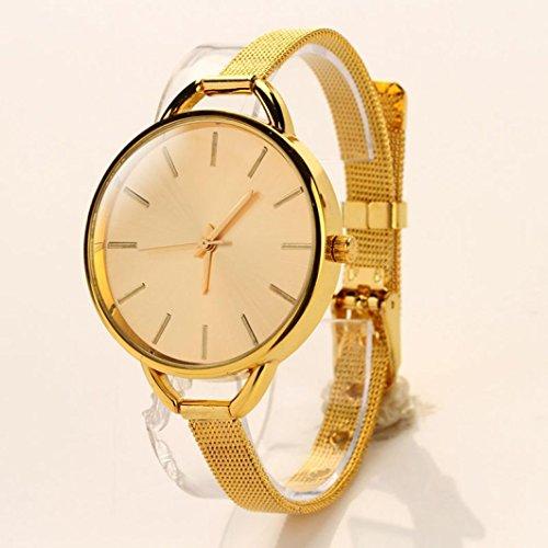 Uhren Damen, HUIHUI Geflochten Armbanduhren Günstige Uhren Wasserdicht Beliebte Casual Analoge Edelstahl Quarz Armband Armbanduhr Coole Uhren Lederarmband Mädchen Frau Uhr (Gold)