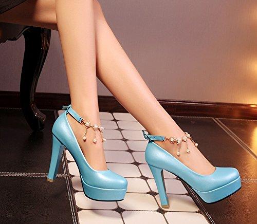 Aisun Damen Elegant Einfarbig Künstliche Perlen Troddel Trichterabsatz Pumps Mit Plateau Blau