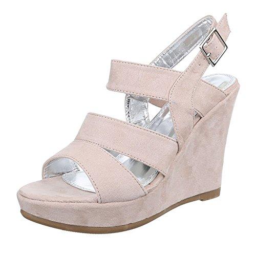 Damen Schuhe, 2358-KL, SANDALETTEN KEIL PUMPS MIT RIEMCHEN Beige