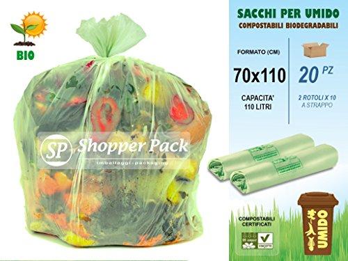 SACCHI PER RACCOLTA UMIDO-ORGANICO GRANDI Compostabili da 110 litri - Cm 70x110 - N° 20 sacchetti (2 rotoli x 10) COMPOSTABILI BIODEGRADABILI per Raccolta Differenziata dei Rifiuti Umidi-Organici