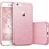 iPhone 6 Case, iPhone 6S Case JINCHANGWU Glitter Silicone TPU + PC Case Sparkle Bling Cover Shockproof Shining Hybrid 3 in 1 Layers for iPhone 6 6S Case 4.7 Pink Rose gold
