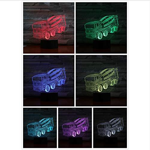 Illusion Lampe Led Nachtlicht Beton Rührwerk Mischer Lkw 3D Illusion 7 Farbwechsel Kinder Baby Nachtlicht Geschenke Tischlampe Schlafzimmer