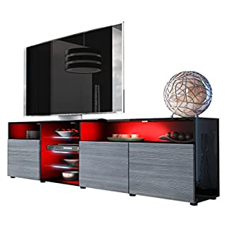 Vladon TV Unit Stand Granada V2, Carcass in Black High Gloss/Front in Avola-Anthracite