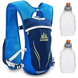 Geila Outdoors Sport Trail Marathoner Running Race Mochila de mochila de hidratación con 2 botellas de agua (azul)