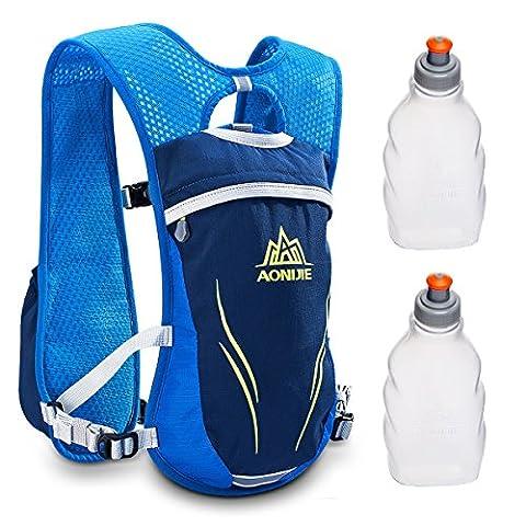 Geila Outdoor Sport Trail Marathoner Running Race Hydratation Vest Pack Sac à dos avec 2 bouteilles d'eau (bleu)