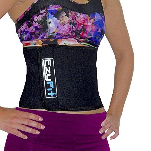 Reductor de cintura de EzyFit: cinturón abdominal de ejercicio para pérdida de peso; apoyo postural para la espalda; faja de sudoración abdominal; fortalece el abdomen; quema la grasa abdominal; sauna de entrenamiento ajustable, grande y en color negro.