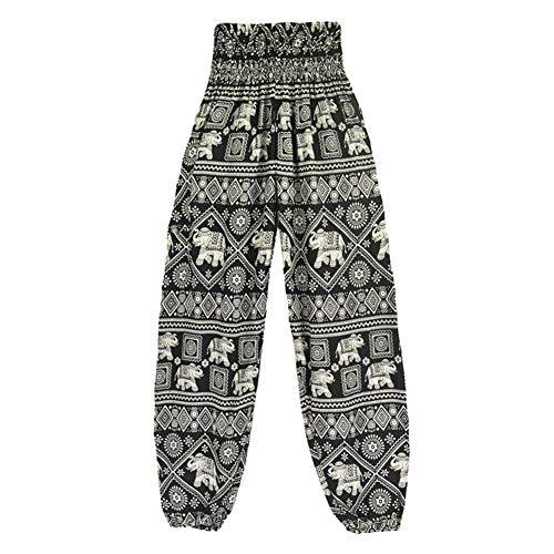 TBATM Women es Hippie Pants, Ladies Elephant Print Harem Hosen Loose Pilates Yoga Lantern Pants for Fitness Training Gym Dance Workout Running,Black Elephant Hose