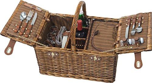 4 Personen Luxus-Kühltasche Picknick-Korb Picknickkorb-Set mit 12 Stück Besteck Set